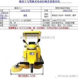 道路小区专用扫路车驾驶式电动扫路车扫吸结合式道路清洁车
