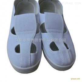 建博批发 防静电白帆布鞋 pvc底四孔无尘鞋