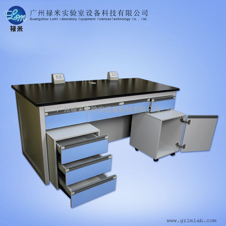 化验室 钢木结构仪器台 仪器实验台 带活动柜