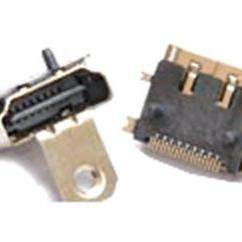 高清HDMI母座19p全�N板SMT�е�+螺�z耳朵