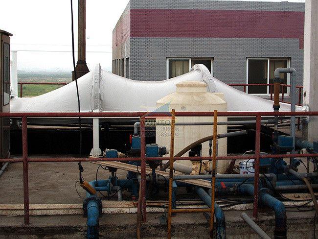 万邦医药污水池加盖除臭,废臭气收集与净化,污水处理,膜结构