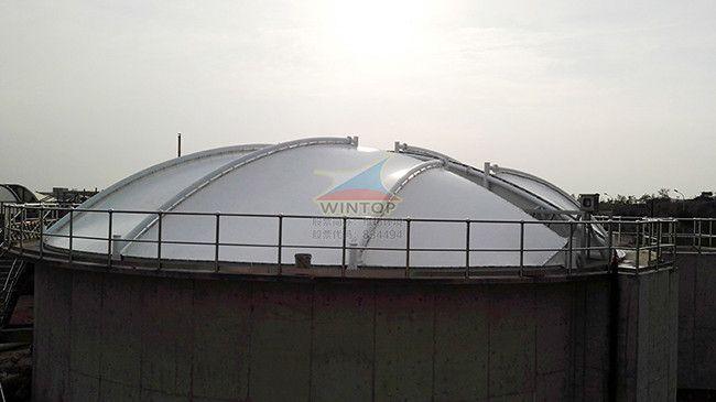 青岛娄山河污水池加盖,废臭气收集净化,钢支撑反吊膜,膜结构