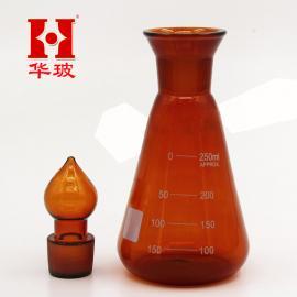 实验仪器 棕色碘量瓶150ml 高硼硅料耐高温具塞定碘三角烧