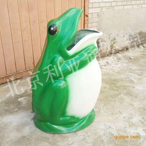 公园学校园林果壳箱垃圾箱户外玻璃钢卡通青蛙垃圾桶
