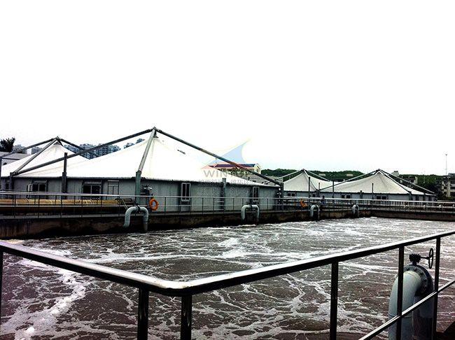 南宁�岸�污水池加盖除臭,废臭气收集净化,钢支撑反吊膜