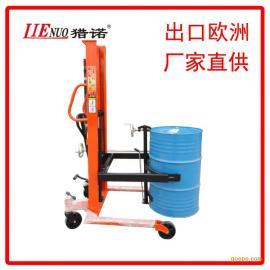 350kg手动液压油桶升高车圆桶堆高车油桶搬运装卸车倒料车叉车