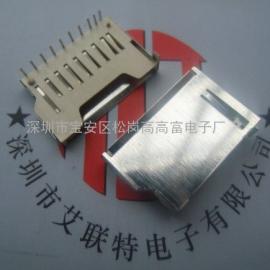 铜端子+铁壳三脚接地(90度插脚SD+TF卡座)防静电