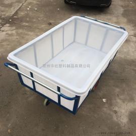 开平1100L塑料方箱周转箱印染厂专用布草车牛筋材质