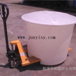 500升圆形叉车桶价格 直径1020*810塑料叉车桶定做
