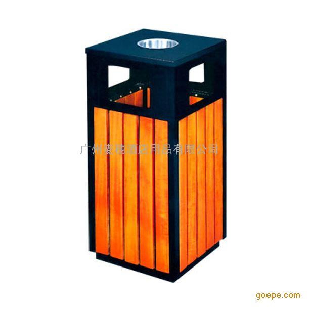 p-a108钢木方形垃圾桶