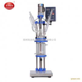 供应小型双层1升玻璃反应釜,电子无极调速、移动方便