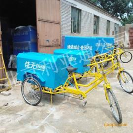 北京厂家定做0.4铁板三轮保洁车环卫人力脚蹬玻璃钢三轮垃圾车