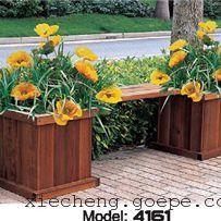 谐诚户外家具景观花箱花车木质花坛花槽带长椅 4161