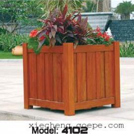 谐诚户外家具碳化木旅游区花箱花车木质花坛花槽 4102