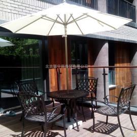 阳台桌椅五件套馨宁居户外金属桌椅会所酒店外摆桌椅伞
