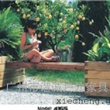 谐诚户外家具街道景观公园长椅带花坛实木休闲公园椅4165