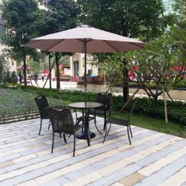 铝合金户外藤椅咖啡餐饮外摆桌椅集团公司露台休闲藤编桌椅
