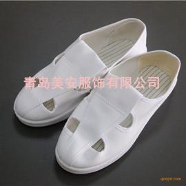 青岛美安SPU底白色四孔帆布防静电鞋