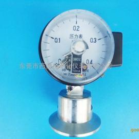 60MM隔膜式电接点压力表,PP耐酸碱隔膜座,内牙1/2