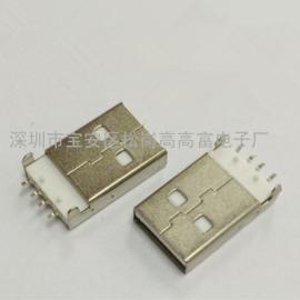 USB公头-沉板A公(有两个柱子+DIP+SMT)插脚贴片
