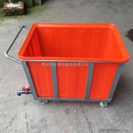 永吉K300L塑料方箱带推车周转箱布草专用箱生产厂家