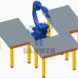 机器人焊接工作站,机器人三工位焊接工作站
