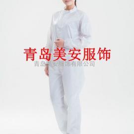 青岛美安服饰白色防静电连体服洁净服