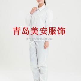 山东美安服饰白色翻领防静电分体服洁净服