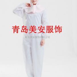 泰安美安服饰白色圆领二连体洁净服厂家直销
