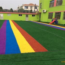 厂家直销跑道彩虹人造草坪 幼儿园人工草皮操场塑料草坪假草