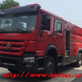 江特牌国五重汽豪沃16吨水罐消防车