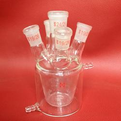 玻璃五口反��瓶1000ml 五口�解池 玻璃�p�臃��器