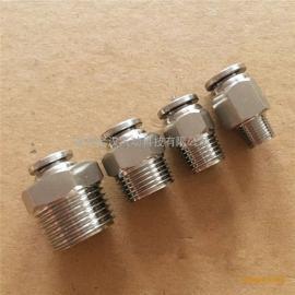 气动元件304不锈钢PC12-02直通快速插软胶管接头金汉