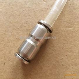 双头直通快速插软胶管金汉气动元件304不锈钢接头PU8-8