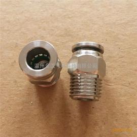 金汉气动元件PC8-02螺纹快速插直通管304不锈钢接头