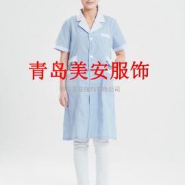 菏泽美安服饰蓝白条纹短袖V领夏季防静电大褂