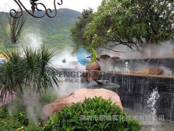 長沙人工湖冷霧假山景觀造霧系統