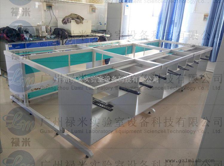 学校钢木中央实验台安装 配木制试剂架 禄米实验室设备