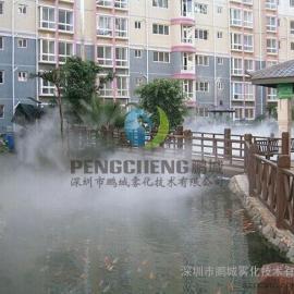 公园喷雾降温假山人造雾设备人工湖景观造雾设备