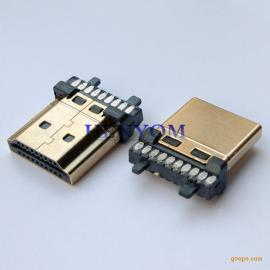 HDMI 19 20P焊线公头 加锡镀金 A型带柱