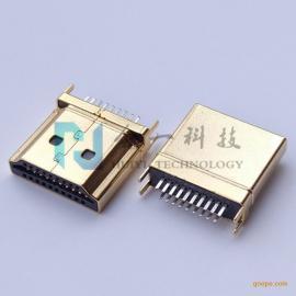 HDMI 19P公头夹板式夹板1.0/1.6mm 大间距高清镀金插头