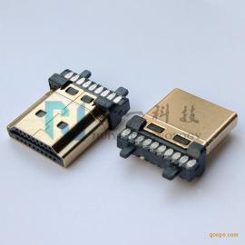 HDMI 19/20P焊线公头 加锡镀金高清插头有柱可带线夹