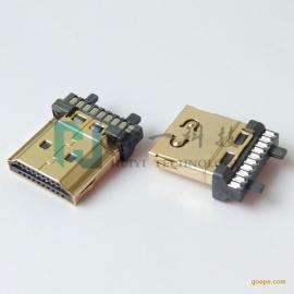 HDMI A TYPE 19P焊线公头有柱带凸眼带弹片 铁壳镀金