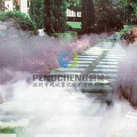 空调主机降温设备假山冷雾设备安装人工湖景观造雾