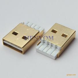 USB 2.0 A公正反插 焊线式双面插头 镀金
