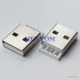 USB 苹果A公 短体焊线式AM插头 插针 摸顶款