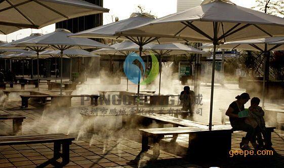 空调主机喷雾降温工程中央空调主机冷雾降温设备假山人造雾冷雾机