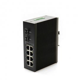 海康威视大华宇视千兆2光8电工业级光纤自愈环网POE以太网交换机
