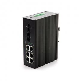 百兆2光6电8口工业级以太网交换机导轨式串联工业级光纤收发器