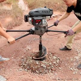 双人四冲程润通地钻8匹马力173CC挖坑机打桩机
